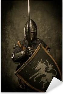Pixerstick Aufkleber Mittelalterliche Ritter auf grauem Hintergrund.
