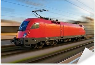 Pixerstick Aufkleber Modernen europäischen elektrische Lokomotive mit Bewegungsunschärfep