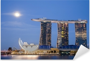 Pixerstick Aufkleber Moon over Marina Bay Sands