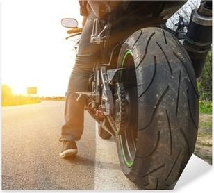 Pixerstick Aufkleber Motorrad auf der Seite der Straße