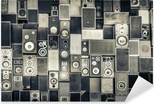 Pixerstick Aufkleber Musik-Lautsprecher an der Wand in Schwarz-Weiß Vintage-Stilp