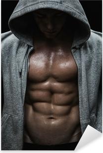 Pixerstick Aufkleber Nahaufnahme von muskulösen Mann Sport nach Gewichte Ausbildung
