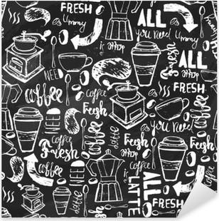 Pixerstick Aufkleber Nahtlose Hand gezeichnet Kaffee nahtlose Muster. Kaffee-Muster mit Schriftzug. Vektor Kaffee-Muster auf dunklem Hintergrund für die Verpackung, Banner.
