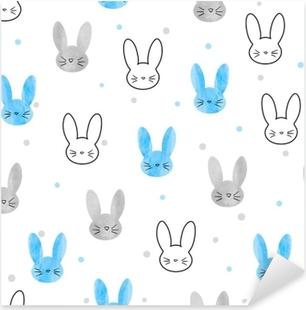 Pixerstick Aufkleber Nahtlose Häschenmuster. Vektor Hintergrund mit blauen und grauen Kaninchen.