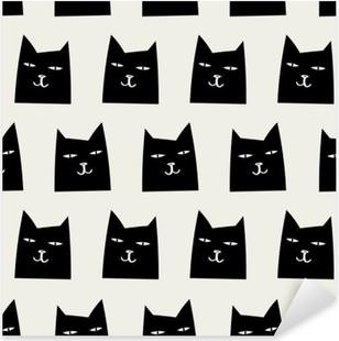 Pixerstick Aufkleber Nahtlose Katze Muster