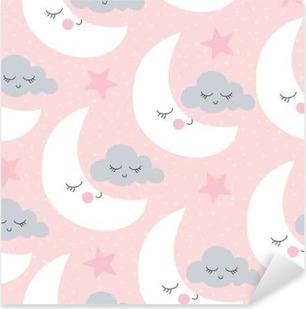 Pixerstick Aufkleber Nahtlose Mond und Wolken Muster Vektor-Illustration