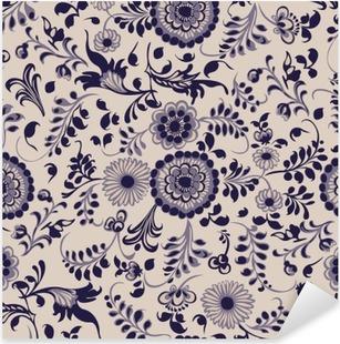 Pixerstick Aufkleber Nahtlose Muster, Blumen dekorative Elemente in gzhel Stil