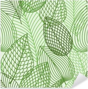 Pixerstick Aufkleber Nahtlose Muster der Feder Umriss rüne Blätter