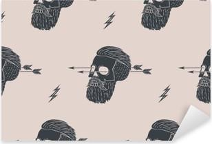 Pixerstick Aufkleber Nahtlose Muster Hintergrund der Vintage-Schädel Hipster mit Pfeil. Grafik-Design für Geschenkpapier und Gewebebeschaffenheit des Hemdes. Vektor-Illustrationp
