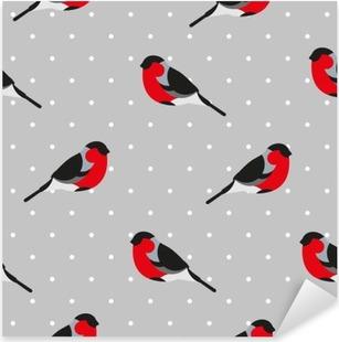 Pixerstick Aufkleber Nahtlose Muster in Polkapunkt mit Gimpel. Ornament für Textil- und Verpackung. Vektor-Hintergrund.