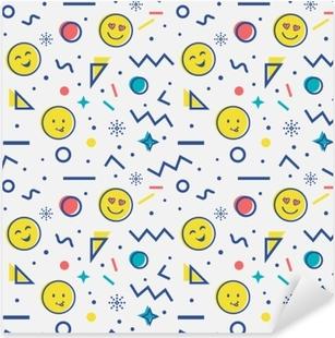 Pixerstick Aufkleber Nahtlose Muster mit Emoji in Memphis-Stil.
