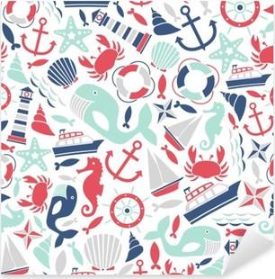 Pixerstick Aufkleber Nahtlose Muster mit Meer Symbole