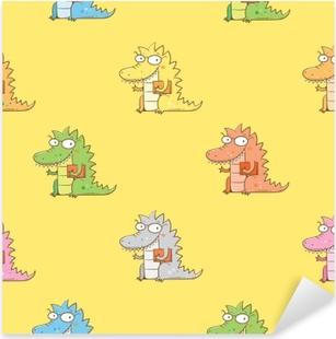 Pixerstick Aufkleber Nahtlose Muster mit niedlichen Cartoon Drachen in Gläsern auf gelbem Hintergrund. kluges Reptil mit Buch. lustiges Tier. Vektor Konturbild. Kinderillustration.p
