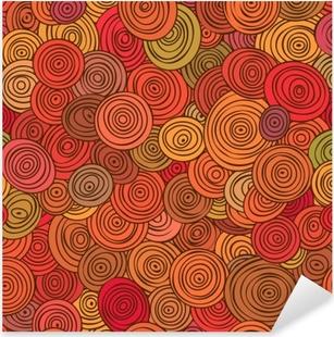 Pixerstick Aufkleber Nahtloses abstraktes rotes Muster von gestreiften Kreisen in den Kreisen.
