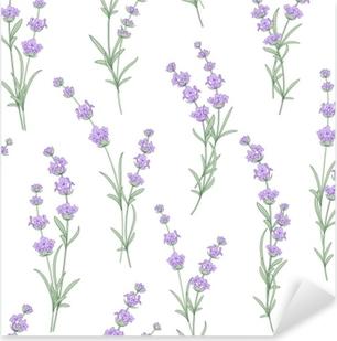 Pixerstick Aufkleber Nahtloses Muster von Lavendelblumen auf einem weißen Hintergrund. Aquarell Muster mit Lavendel für Stoffmuster. nahtloses Muster für Stoff. Vektor-Illustration.