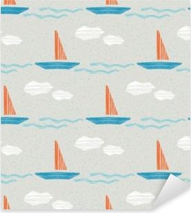 Pixerstick Aufkleber Nahtloses Sommermuster mit Booten