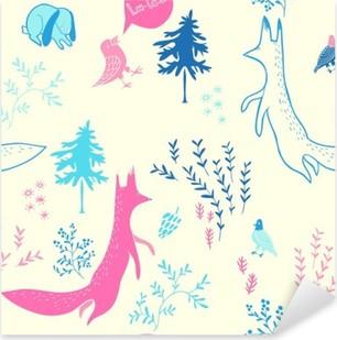 Pixerstick Aufkleber Nette Tiere im Wald. Nahtlose Muster. Hand gezeichnete Illustration mit Fuchs, Hase, Vögel und floralen Elementen. Natürliches Design-Vektor-Hintergrund.