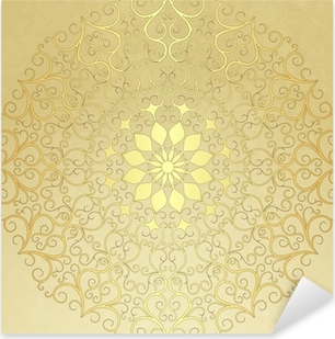 Pixerstick Aufkleber Old Vintage-Papier mit goldenen runden Muster