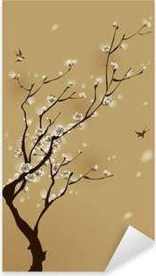 Pixerstick Aufkleber Orientalischen Stil Malerei, Pflaume Blüte im Frühjahr
