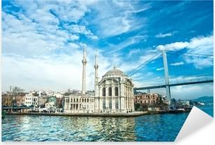 Pixerstick Aufkleber Ortakoy Moschee und Bosporus-Brücke, Istanbul, Türkei.