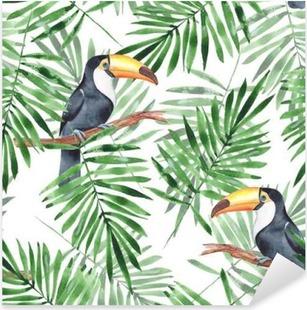 Pixerstick Aufkleber Palmblätter und Tukan. Aquarell nahtlose Muster 4