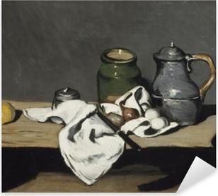 Pixerstick Aufkleber Paul Cézanne - Stillleben mit grünem Gefäß und Zinnkanne