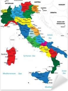 Pixerstick Aufkleber Politische Landkarte von Italien