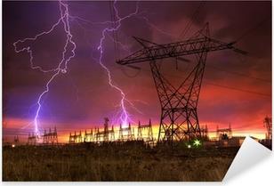 Pixerstick Aufkleber Power Distribution Station mit Blitzschlag.