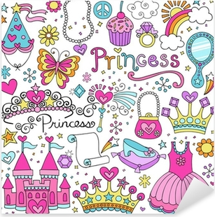 Pixerstick Aufkleber Princess Märchen Tiara Notebook Doodles Vector Set
