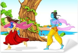 Pixerstick Aufkleber Radha Krishna Playing Holi