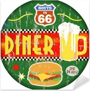 Pixerstick Aufkleber Retro amerikanische Route 66 Diner Zeichen, Vektor-EPSp