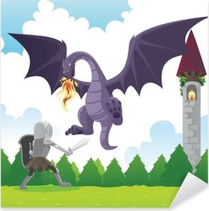 Pixerstick Aufkleber Ritter kämpfen Drachen