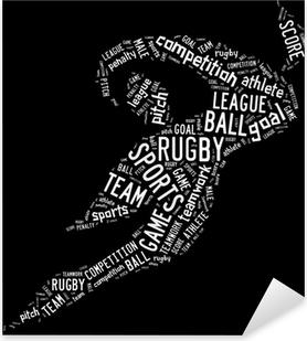 Pixerstick Aufkleber Rugby Piktogramm mit weißen Formulierungen