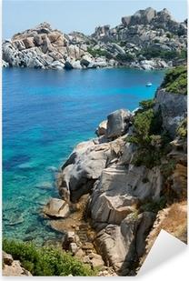 Pixerstick Aufkleber Sardinien Strand, wunderbares Meer in Capo Testa. Italien