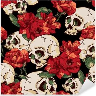 Pixerstick Aufkleber Schädel und Blumen Nahtlose Hintergrund