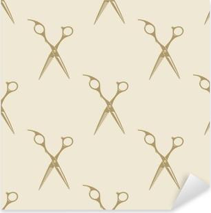 Pixerstick Aufkleber Schere Muster Kachel Hintergrund nahtlose Jahrgang Friseurladen Symbol Emblem-Label-Kollektion