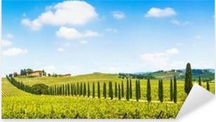 Pixerstick Aufkleber Schöne Landschaft mit Weinberg, Chianti, Toskana, Italienp