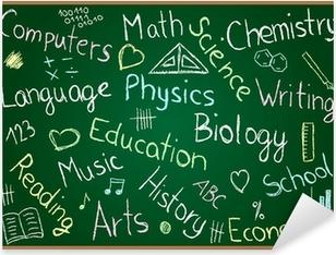 Pixerstick Aufkleber Schulfächer und Kritzeleien auf Tafel