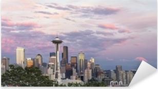 Pixerstick Aufkleber Seattle City Downtown Skyline bei Sonnenuntergang-Panorama