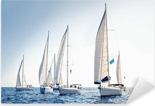 Pixerstick Aufkleber Segelschiff Yachten mit weißen Segeln