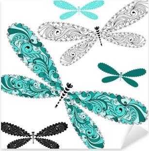 Pixerstick Aufkleber Set Spitze Vintage Libellen