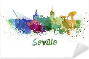Pixerstick Aufkleber Sevilla Skyline in Aquarellp