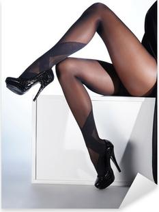 Pixerstick Aufkleber Sexy Frauen Beine in schwarzen erotische Strümpfe und High Heels