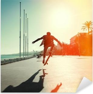 Pixerstick Aufkleber Silhouette der Skateboarderp