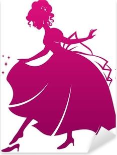 Pixerstick Aufkleber Silhouette von Cinderella trägt ihr Glas Pantoffelp