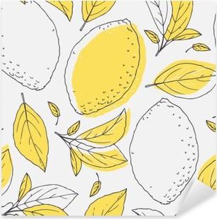 Pixerstick Aufkleber Skizzieren Sie nahtlose Muster mit Hand gezeichneten Zitrone und Blätter. Doodle Obst für Paket oder Küchendesign