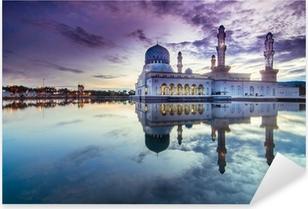 Pixerstick Aufkleber Sonnenaufgang Stadt Moschee in Likas, Sabah, Malaysia