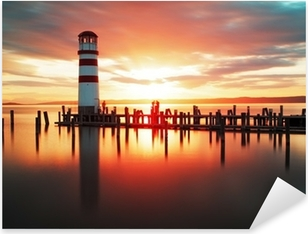 Pixerstick Aufkleber Sonnenaufgang Strand mit Leuchtturmp