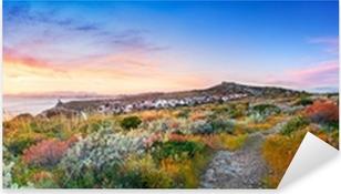 Pixerstick Aufkleber Sonnenuntergang auf der Mittelmeervegetationp