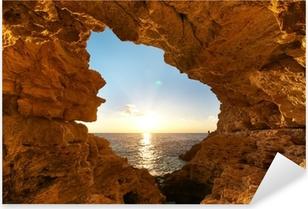 Pixerstick Aufkleber Sonnenuntergang in Grotte